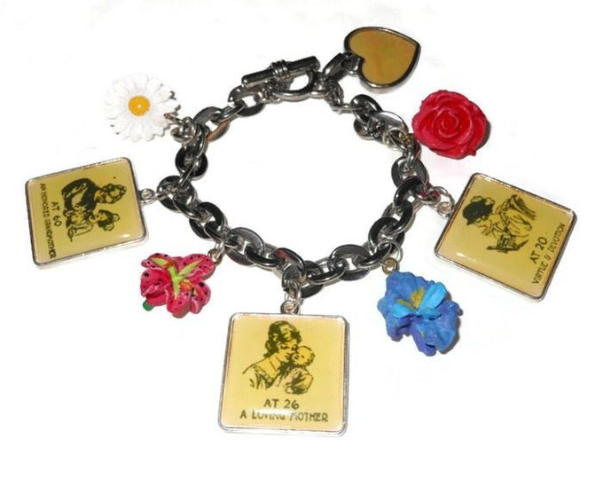 Mother Grandmother charm bracelet, stages of life upcycled Grandma silver charm bracelet with quaint vignettes and flowers.