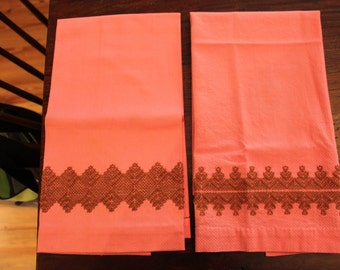 Mid Century Set of 2 Hand Made & Embroidered Pink and Brown Kitchen/Bath Hand Towels