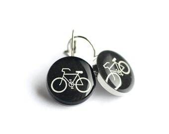 Bicycle earring, Surgical steel earring, Sport dangle earring, Bike leverback earring, gift for her, womens earring