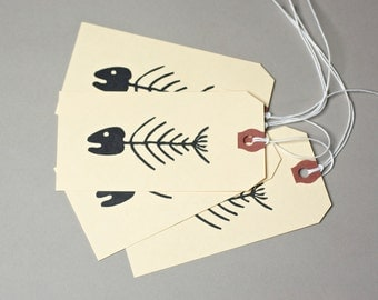 Fish bones - graphic design - 5 gift tags   Fishing tags. Unique gift wrapping  Fisherman tags