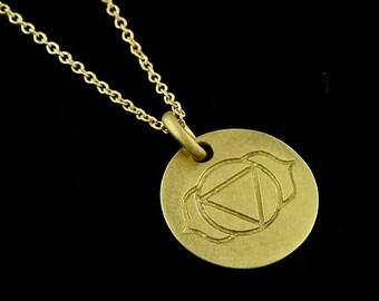 Third Eye Ajna Chakra Pendant, Matte Finish Chakra Pendant, Gold Third Eye Disc Necklace, Religious Symbol Pendant, Round Gold Disc Necklace