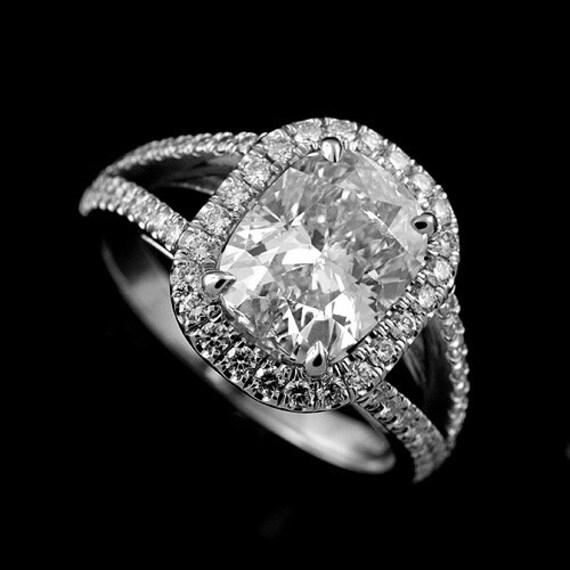 Split Shank Halo Engagement Ring Cushion Cut Diamond