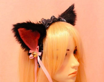 Black w White / Pink / Black inside CAT kitty ears LOLITA maid black Lace HEADBAND w pink ribbons & bells long fur set Costume Cosplay Party