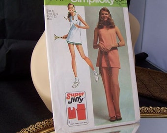 Vintage 1971 Simplicity 9417 Super Jiffy Pants  or Tennis Shorts and Tunic Size 8