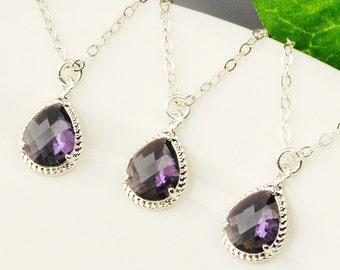 Purple Necklace SET OF 6 - 15% OFF Silver Amethyst Necklace - Wedding Jewelry Set - Purple Bridesmaid Necklaces - Teardrop Pendant