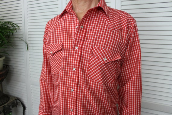 Vintage Red Gingham Western Long Sleeve Shirt Size 42""