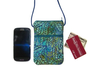 Cell Phone Sling Bag Hipster Stained Glass Leaves on Batik Fabric