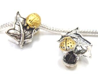 3 Beads - Ladybug Leaf Leaves Gold Silver European Bead Charm E1196