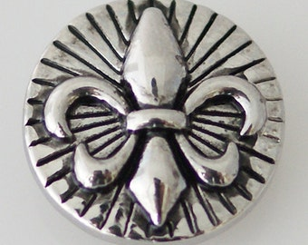 1 PC 18MM Fleur De Lis Silver Snap Candy Charm kb5235 CC0069