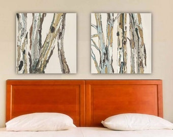 Greige neutral extra large wall art diptych set canvas Print tree pastels white office artwork bedroom living room dining rustic home decor