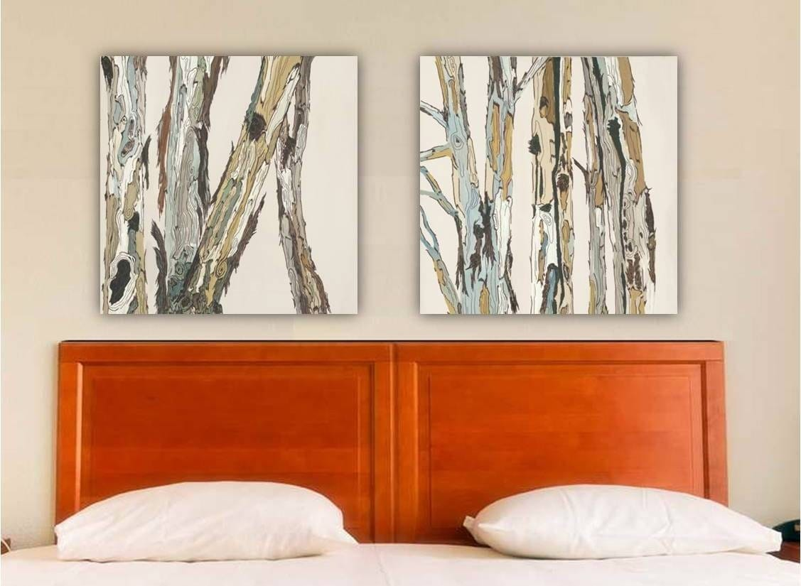 Greige neutral extra large wall art diptych set canvas print for Decorating with neutral walls