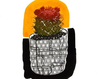 Little Cactus Photo Etching & Chine Colle Hand Pulled Original Print