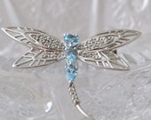 DRAGONFLY Brooch 10Kt White Gold with Blue Topaz and Diamonds