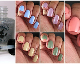 FULL SIZE The Naturals with free holographic topper - custom handcrafted natural colored creme nail polish collection