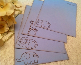 Animal Note Cards and Thank You Cards-Children and Baby Boy Blue Cards Sets