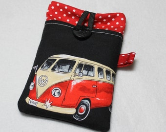 Fabric iPhone sleeve, iPhone case, iPhone pouch, iPod touch sleeve, camper van, red and black
