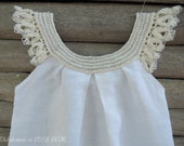 white crochet baby dress exclusive design Thebabemuse photo shoot flowergirl dress toddler baby size