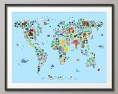 Animal Map of the World Map for children and kids, Art Print (613)
