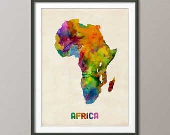 Africa Watercolor Map, Art Print (571)