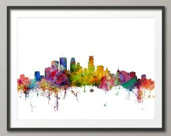 Minneapolis Skyline, Minneapolis Minnesota Cityscape Art Print (1217)