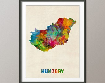 Hungary Watercolor Map, Art Print (1318)