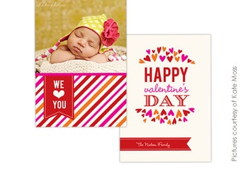 INSTANT DOWNLOAD -  Valentine Photocard Template - We love - E266