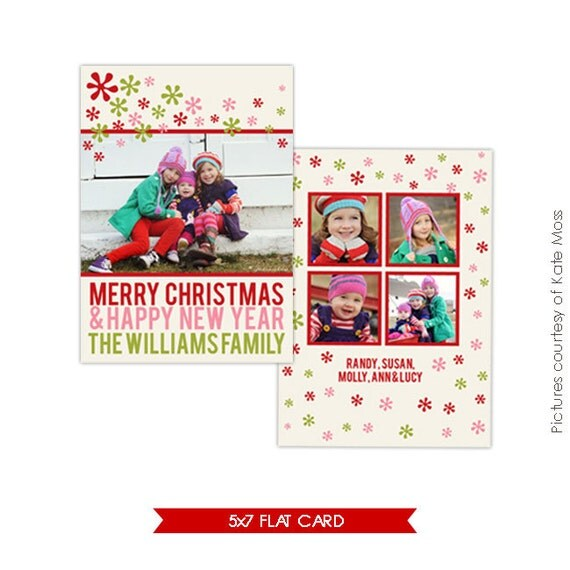 Holiday Card Photoshop Template - Funky Christmas - E150