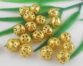 Bulk 100 - 4 mm  Filigree Gold Plated Metal Beads -  sp020