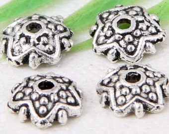 20 Star Bead Caps Antique Silver Tone 7 x 2 mm - bc122