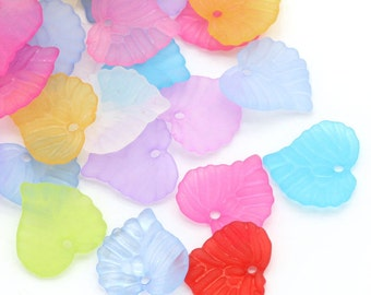 50 Frosted Acrylic Leaf Charms Mixed Color 16 x 15 mm - pa128