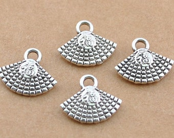 16  Fan Charms, Double Sided Antique Silver 10 x 8 mm - ts513