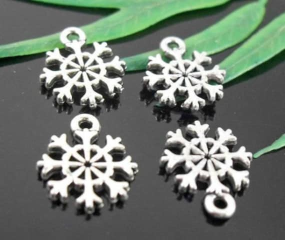bulk charms 50 snowflake charms sided by