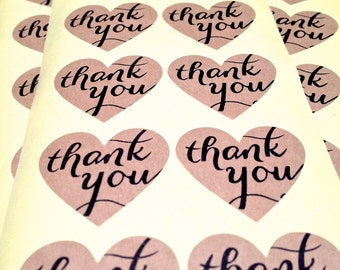 """Kraft Thank You heart stickers.  98 Adhesive labels 1.25"""" for weddings, parties, Anything!  1 1/4"""" love seals."""