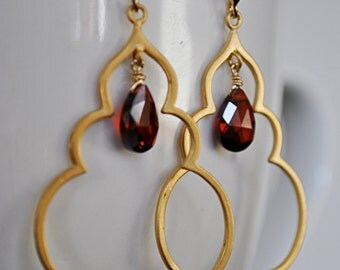 TEARDROP GOLD HOOPS earrings with cubic zirconia .garnet look stone