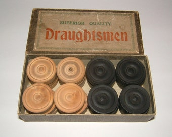 Complete Set of Superior Quality Draughtsmen Vintage Draughts Vintage Checkers Original Box Vintage Toy Vintage Board Traditonal Game