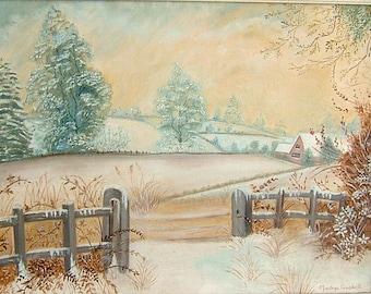 Vintage Art OOAK Painting Vintage Winter Painting Vintage Snow Painting Vintage Landscape Painting Vintage Oil Painting by Madge Gaskell