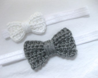 Baby Girl Headband, Hair Bow, Bow Headband, Crochet, Newborn, Photo Prop, Newborn Photos, Hair Accessory