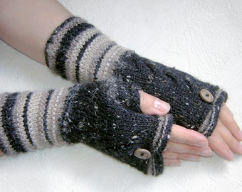 Dark gray tweed cables and  light biege strips  fingerless  gloves with buttons .