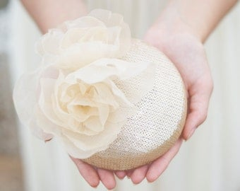 Pale Gold Sequins Millinery Hat, Bridal Silk Peony Hat, Millinery Flower Hat