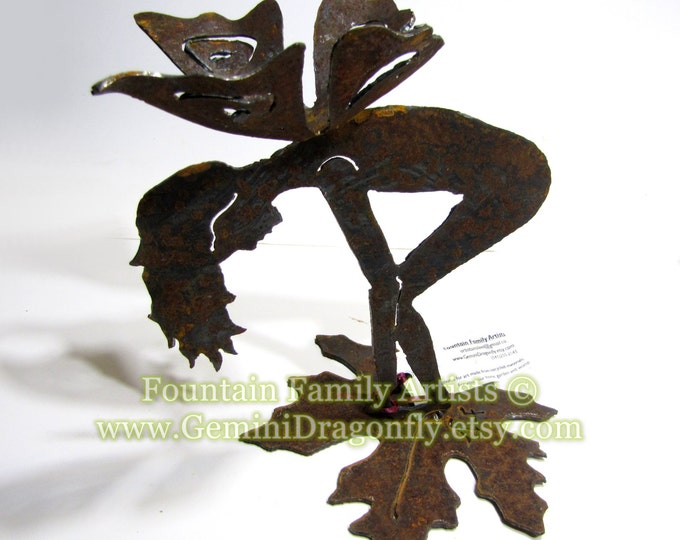 Rusty Garden Fairy on Leaf Bottoms Up Recycled Metal Garden Art Nursery Decor
