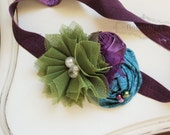 Eggplant Purple, Olive and Teal Rosette headband, purple headbands, newborn headbands, flower headbands, olive headbands, photography prop