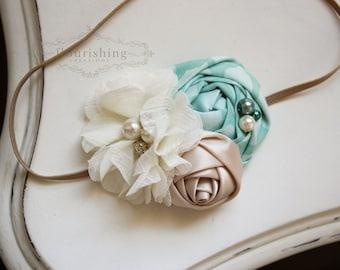 Mint and Ivory  headband, mint flower headbands, ivory headbands, baby headbands, newborn headbands, photography prop