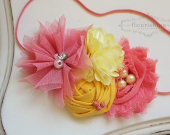 Coral and Yellow Flower headbands, baby flower headbands, coral headbands, newborn headbands, photography prop