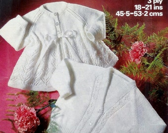 Baby Matinee Jacket  and Cardigan in 3ply for sizes 18 - 21 ins  - Marriner 1612 -  pdf of  of Vintage Knitting Patterns