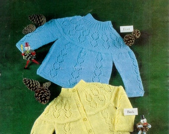 Baby 4ply DK Qk 8ply Angel Top or Jacket 19 to 22 ins - Keynote 111 - pdf of Vintage Knitting Patterns