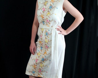 60s Wiggle Dress, White Linen,  Embroidery, Metallic, Mad Men Party