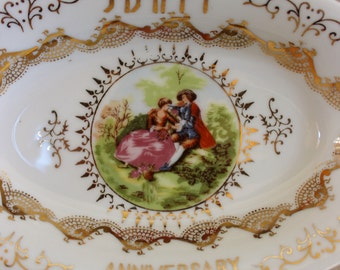 Happy Anniversary Vintage Porcelain Dish- French Courting Scene- Hand Painted- Vintage Oval Bowl