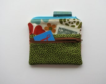 Spring inspired zippered bag with multiple compartments - green leaf print and modern floral print fabric bag - wallet - zippered pouch
