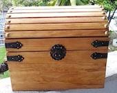 Small Wooden Wedding Treasure Chest Card Box Golden Oak Stain-Dark Walnut - Red Mahogany