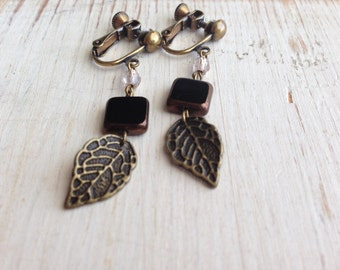 Metal Leaf and Black Square Clip Earring, Screw Back Clip on, Dangle Clip ons